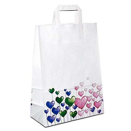 50 x Papiertragetaschen weiss, Motiv: Herzen 26+12x35 cm   stabile Papiertüten   Tragetaschen Danke Flachhenkel   Papiertaschen Mittel   HUTNER