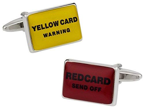 &de ballon de Football Rouge/jaune Carte Boutons de manchette