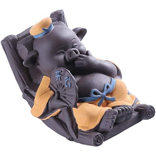 Accessori per il set da tè Migliaia di maiali diventano viola tè di sabbia pet boutique carino può sollevare felice sedia a dondolo maiale decorazione della casa tecnologia-Larghezza 11,2 altezza 7,6