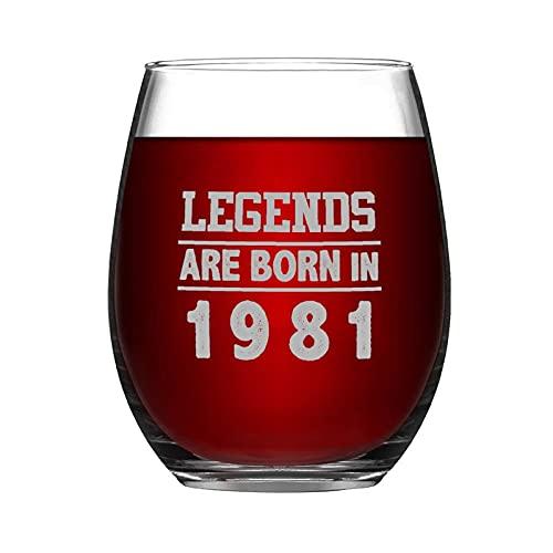 Copa de vino sin tallo, diseño de leyendas nacidas en 1981, 315 ml, para amantes del vino, regalo de cumpleaños, grabado en vidrio esmerilado, regalo para amigo, mamá, papá, hijo e hija