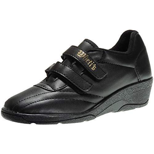 WHETIS 808 Zapatilla Deportiva Cuña 4Cm Aerobic Velcros Java Mujer Negro Talla 42