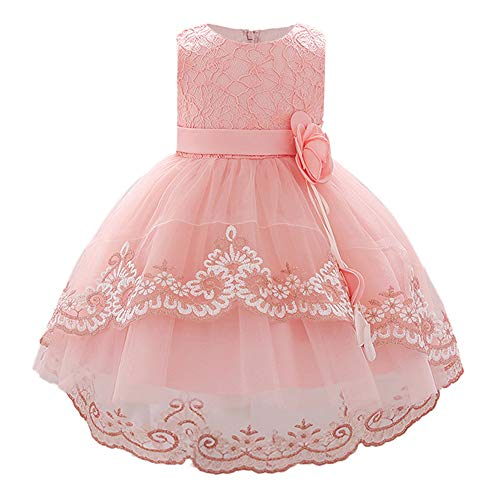 FONLAM Vestido de Princesa Bautizo para Bebé Niña Vestido Boda Fiesta Cumpleaños Encaje Ceremonia Bebé (Rosa, 6-12 Meses)