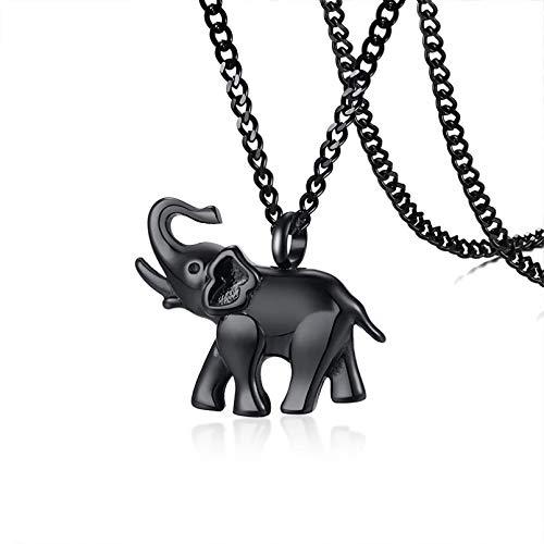 YAMAO Hombre Collar,Collar con Colgante de Elefante de Acero Inoxidable Negro para Regalo de joyería para Hombre