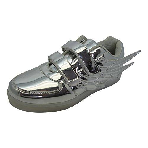 Bling-Bling Zapatillas LED – Zapatillas deportivas con siete suela luminosa, unisex, con conexión USB para cargar, para niños, tallas 30 – 36, color Plateado, talla 32 EU