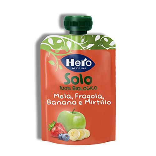Hero Solo Pouch Frutta Frullata 100% Bio Mela, Banana, Fragola e Mirtillo, senza Zuccheri Aggiunti, Conservanti e Coloranti, senza Glutine, dai 4 Mesi in su - Pack da 18 Confezioni X 100 G