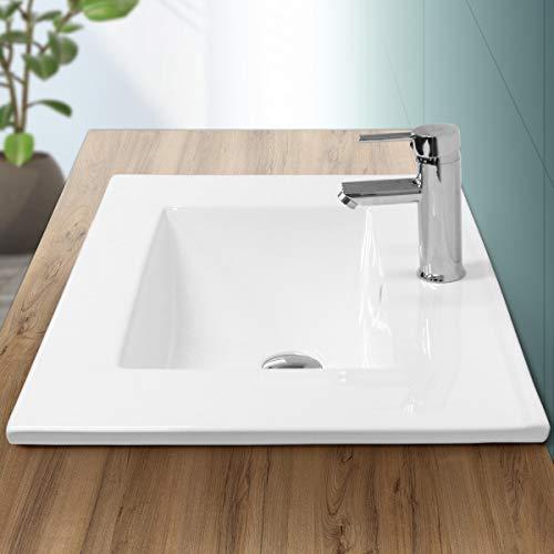 ECD Germany Lavabo encastrable cerámica con Agujero Grifo - Blanco - Aseo lavamanos sobre encimera - 710 x 465 x 175 mm - diseño Moderno - Pila con desbordamiento desagüe para el Cuarto de baño