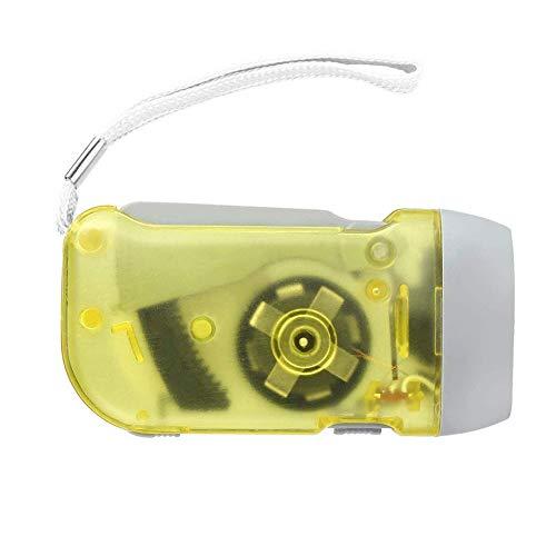 Gcroet Prensa de la Mano de la antorcha de la manivela de la Linterna 3 LED Linterna Dynamo de artículos de Camping excursión Que acampa Supervivencia Amarillo
