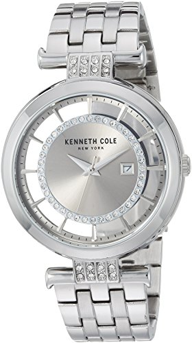 Kenneth Cole New York Reloj de Cuarzo para Mujer, Acero Inoxidable, Color Plateado (Modelo: KC15005010)