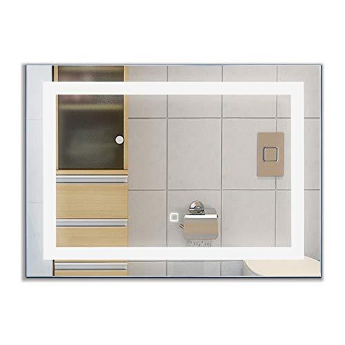 COSTWAY LED-Spiegel 70 x 50cm, Badspiegel mit Beleuchtung, Wandspiegel mit Touchschalter, Lichtspiegel fürs Badezimmer, Badezimmerspiegel kaltweiß