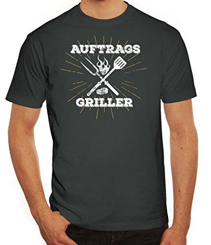 Grillen Grill Party Herren Männer T-Shirt Rundhals Auftragsgriller, Größe: XL,Darkgrey