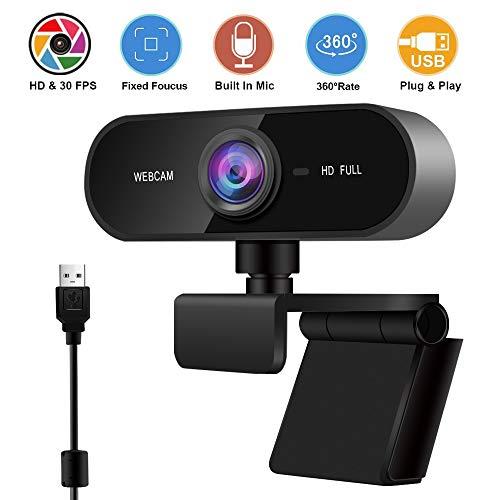 1080p Webcam mit Mikrofon, Webcam-Videokamera für Computer PC Laptop Desktop, USB Plug & Play, integriertes Mikrofon zur Rauschunterdrückung, für Video-Streaming, Konferenz, Spiele, Online-Unterricht