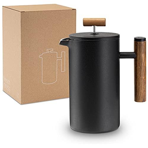 Lambda Coffee® French Press aus Edelstahl und Holz | 0,6 Liter (3 Tassen, klein) | für den perfekten Kaffee | Kaffeebereiter doppelwandig Thermo | manuelle Kaffeemaschine und Kaffeepresse schwarz