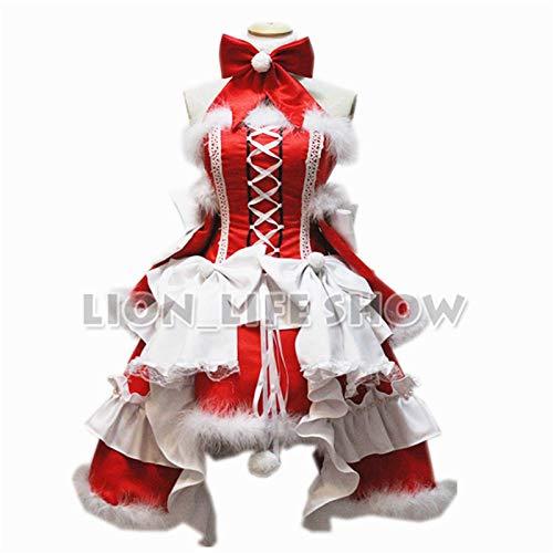 Santa Claus traje de terciopelo s súper adulto Sant s muchacha de las mujeres de invierno arco encantador Volver cosplay Partido limpieza rojo lolita vestido de Santa Claus s vestuario (Tamaño: S, Fue