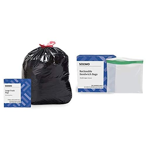 Amazon Brand - Solimo Multipurpose Drawstring Trash Bags, 30 Gallon, 50 Count & Sandwich Storage Bags, 300 Count 3