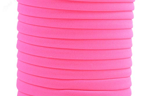 KONMAY 1 Roll 20 Yards 5.0mm Flat Soft Skinny Elastic Cord from Spanex and Nylon Fabric Stitched Stretchy Cord(Neon Pink)