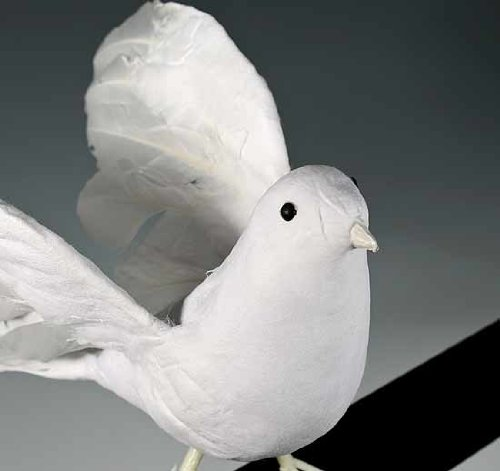 """11"""" Artificial Flocked White Feather Dove-Set of 2"""