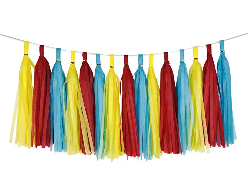 zorpia Carnival Circus Tissue Tassel Garland Party Streamers Bunting Banner Backdrop Red Blue Yellow Tissue Tassel Garland for Carnival Baby Shower Wedding Birthday Graduation Anniversary Party Decor