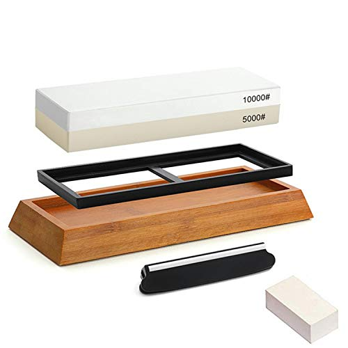 Meiyijia Schleifstein Set, 2-IN-1 Abziehstein Schleifstein für Messer, Körnung 5000/10000 mit rutschfestem Silikonhalter,Gratis Abflachender Stein