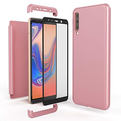 NALIA 360 Grad Handyhülle kompatibel mit Samsung Galaxy A7 2018, Full-Cover und Glas vorne hinten Hülle Doppel-Schutz, Dünn Ganzkörper Hülle Etui Handy-Tasche, Bumper und Bildschirmschutz, Farbe:Rose Gold