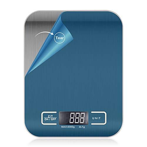 Bubuxy Digitale Küchenwaage, Multifunktions-Lebensmittelwaage, Genauigkeit, Edelstahl, Kochwaage, 5 kg