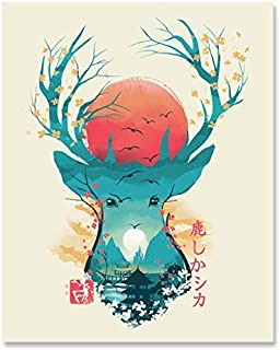 Japanese Deer Art Print - Traditional Ukiyo-e Wall Art 8 x 10 Unframed Cherry Blossom Antlers Mountain Landscape Spiritual Home Decor Japanese Artwork Whimsical Animal Print Calming Wall Hanging