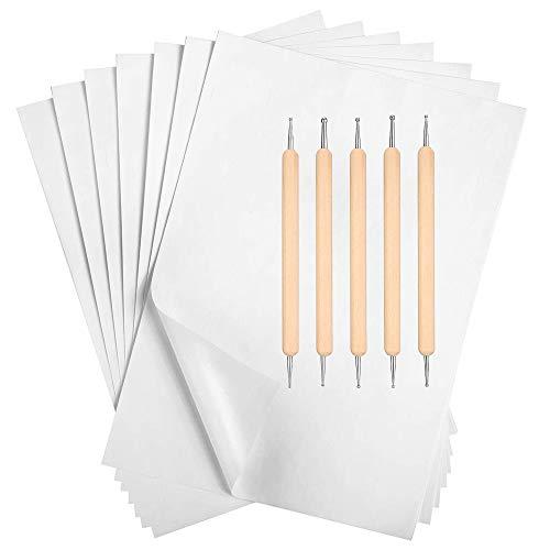 100 Pezzi Carta Carbone, Carta per Trasferimento di Carbonio Bianco - 11.7 x 8.3 Pollici Carta da Lucido Grafite Carta da Copia Carbone con 5 Pezzi Stilo per Goffratura, per Stoffa Tela Carta Legno