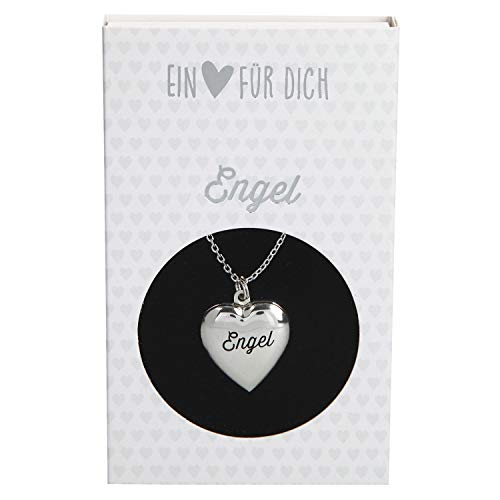 Depesche 10801.012 Halskette mit Herzanhänger Medaillon, versilbert und nickelfrei, mit Aufschrift Engel, Länge 40 46 cm
