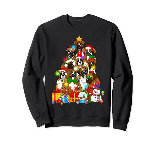 Funny Boxer - Luces de árbol de Navidad para regalar a los amantes del perro Sudadera