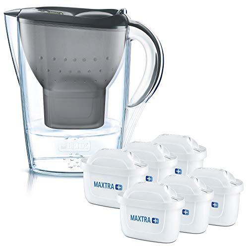 BRITA Wasserfilter Marella graphit inkl. 6 MAXTRA+ Filterkartuschen – BRITA Filter Starterpaket zur Reduzierung von Kalk, Chlor, Blei, Kupfer & geschmacksstörenden Stoffen im Wasser