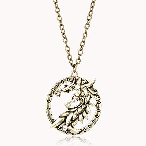 XKMY Collar con colgante de amuleto con diseño de dragón de Skyrim con diseño de dinosaurio y triángulo de Morrowind amuleto para hombres y mujeres (color metálico: chapado en negro con pistola)