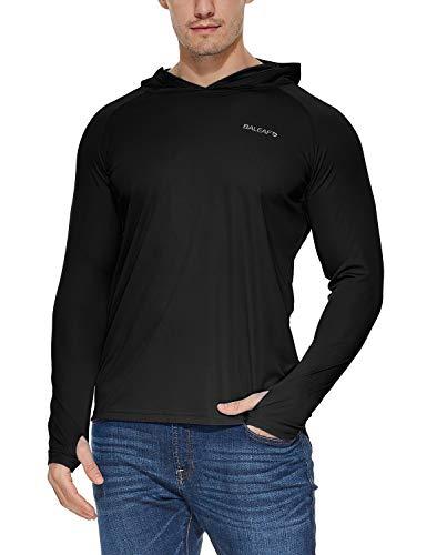 BALEAF Men's UPF 50+ Sun Protection Athletic Workout Long Sleeve Performance Hoodie T-Shirt Black S