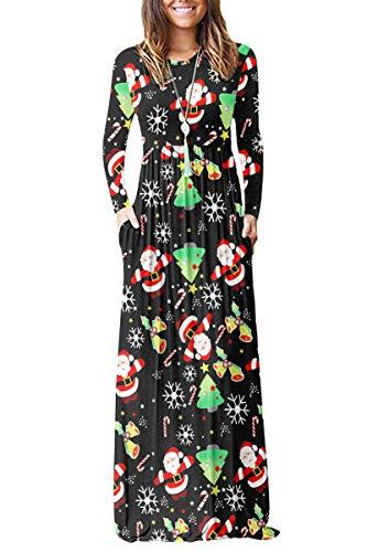 AUSELILY Women Long Sleeve Loose Plain Plus Size Maxi Dresses Casual Long Dresses with Pockets(XL,Christmas Tree Santa)