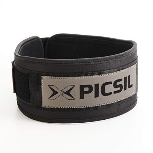 PicSil Cinturón Lumbar para Levantamiento de Pesas, Soporte Lumbar, Ideal para Sentadillas, Peso Muerto, Zancadas, Cinturón Personalizable con Espacio para Parches, 3 Colores, 5 Tallas (Negro, L)