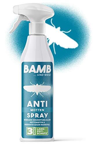 bamb Mottenschutz für Kleiderschrank Spray – 500ml Anti Motten Spray zum Motten bekämpfen - Mottenfalle Alternative – Mittel gegen Motten