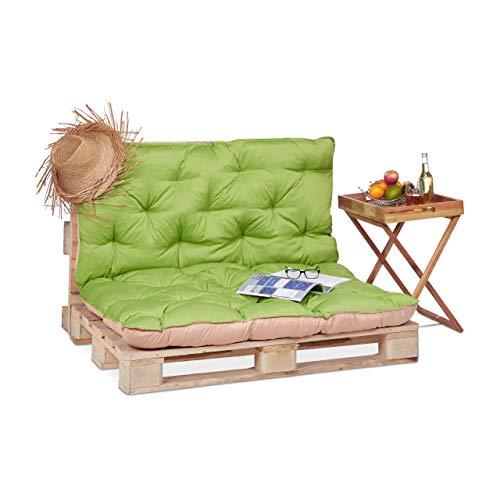 Relaxdays Coussin pour palette euro bois coussin jardin meuble banc banquette, vert