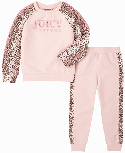 Juicy Couture Girls' 2 Pieces Pants Set, Pink/Print, 3T