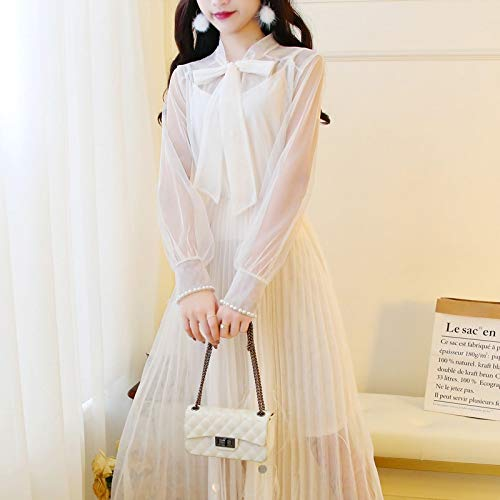 QUNLIANYI Robe Longue Gatsby Robe Mesh Voile Robes Femmes Manches Longues Bow Tie Collar Pearl Long Pleated Robe L Beige