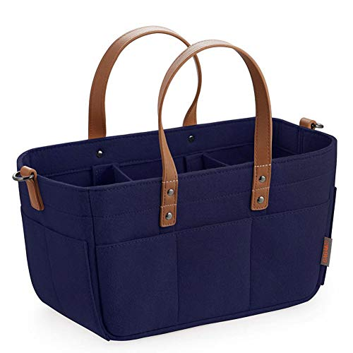 Hothingwell Baby Diaper Bag, Storage Basket for Babies, for Newborn Babies, Diaper Preservation Basket for Baby, 3 Compartments,Navy,33x15x18cm