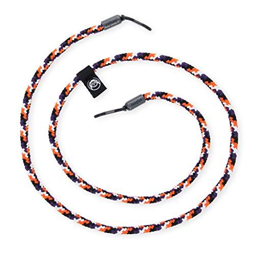 hangloo - Das hochwertige Brillenband | Name: Carrot Cake | Farben: Orange, schwarz, weiß und grau