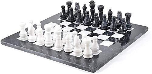 Juego de ajedrez para adultos, juego de tablero de ajedrez de mármol hecho a mano, juego de ajedrez grande de Ujin, juego de ajedrez de viaje en blanco y negro, juego de ajedrez ponderado para adulto