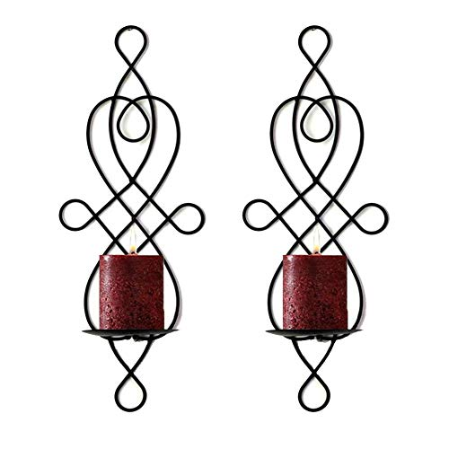 Sziqiqi 2 Pcs Wall Candle Sconces, Metal Elegant Pillar Candle Holder, Hanging Wall Candleholders, Wedding Party Dinning Room Candlelight Decor, Black
