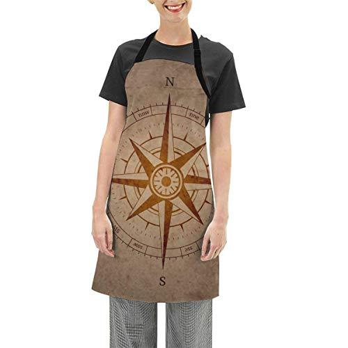 Darlene Ackerman(n) Retro Navigation Com1pass verstellbare Schürze Küche Kochen Soft Chef Lätzchen Schürze für Frauen Basteln BBQ Zeichnung im Freien