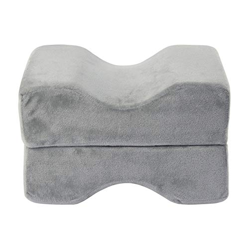 Memory Foam Knee Pillow,Foam Wedge Cushion Leg Support Pillow for Side Sleeper Relief Hip Sciatica Back Pain for Back Leg Support(Gray)
