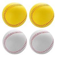BESTOYARD 4個ソフト野球pu弾性野球子供練習野球ティーンエイジャートレーニング野球ため打撃屋内または屋外再生7センチメートル白黄色