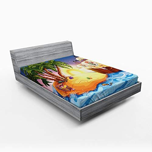 ABAKUHAUS Barco Pirata Sábana Elastizada, Exótico Sea Island, Suave Tela Decorativa Estampada Elástico en el Borde, 135 x 190 cm, Multicolor