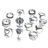 Shining Diva Fashion Set of 13 Boho Midi Finger Crystal Rings for Women