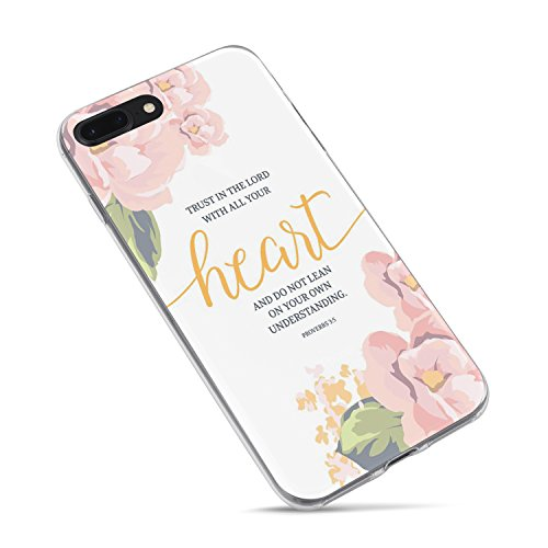 iPhone 7 Plus/iPhone 8 Plus Case Girls Women,Cute Flowers Floral Christian Quotes Bible Verses Inspirational Proverbs 3:5 Trust Lord with All Your Heart Soft Case Compatible for iPhone 8 Plus/7 Plus