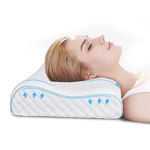 VOKARALA Memory Foam Kopfkissen, Visco Höhenwählbar Schlafkissen für HWS, Ergonomisches Orthopädisches Nackenstützkissen Nackenkissen Antischnarchkissen gegen Nackenschmerzen mit Waschbar Bezug