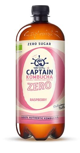Captain Kombucha ZERO - Zero Sugar, Zero Calories - Bebida Probiótica Naturalmente Fermentada, Sin Pasteurizar, Vegan - 6 x 1000ml (Raspberry)