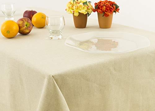 Nappe unie en 100% coton en 140x240 beige